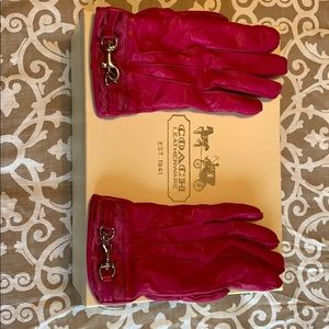Pink Coach leather gloves, size 7